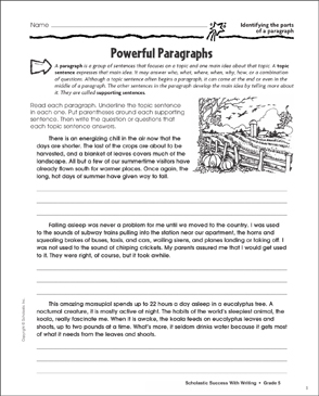Powerful Paragraphs (Identifying the Parts of a Paragraph) - Printable Worksheet