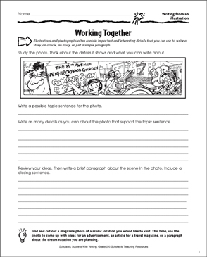 Working Together (Writing From an Illustration) - Printable Worksheet
