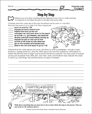 Step by Step (Using Time Order in Paragraphs) - Printable Worksheet