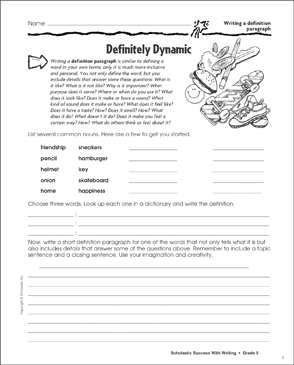 Definitely Dynamic (Writing a Definition Paragraph) - Printable Worksheet