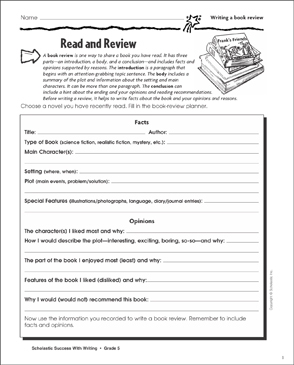 Read and Review (Writing a Book Review) - Printable Worksheet