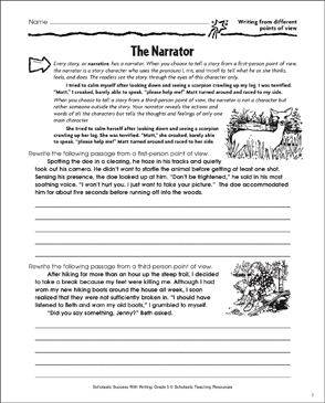 Narrator (Writing from Different Points of View) - Printable Worksheet