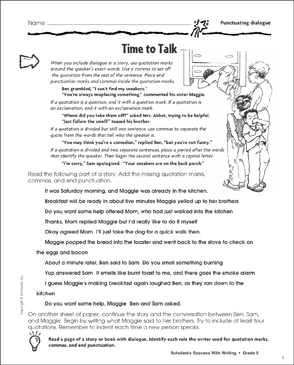 Time to Talk (Punctuating Dialogue) - Printable Worksheet