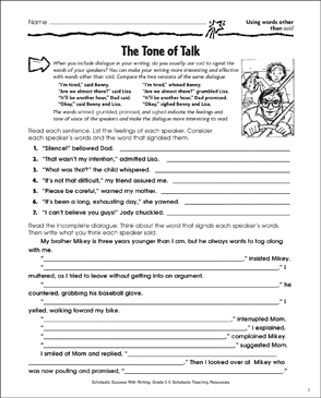Tone of Talk (Using Words Other Than Said) - Printable Worksheet