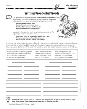 Writing Wonderful Words (Using Alliteration and Assonance) - Printable Worksheet