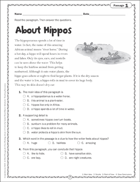 About Hippos: Close Reading Passage - Printable Worksheet