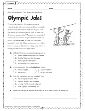 Olympic Jobs: Close Reading Passage - Printable Worksheet