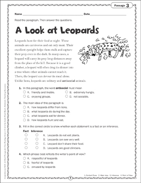A Look at Leopards: Close Reading Passage - Printable Worksheet