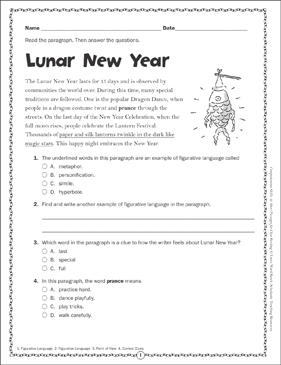 Chinese New Year: Close Reading Passage - Printable Worksheet