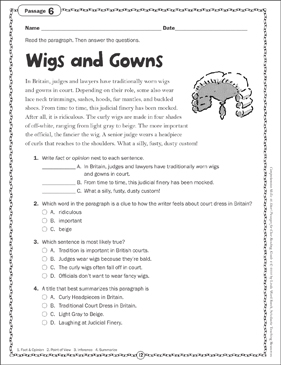 Wigs and Gowns Close Reading Passage - Printable Worksheet
