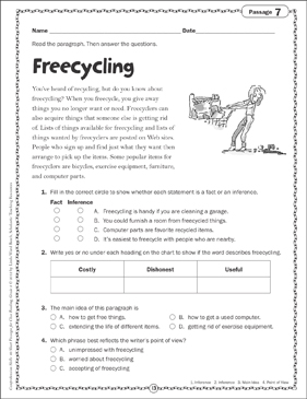 Freecycling: Close Reading Passage - Printable Worksheet