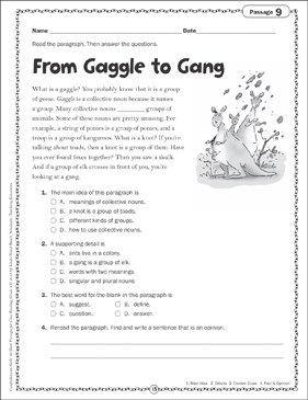 From Gaggle and Gang: Close Reading Passage - Printable Worksheet