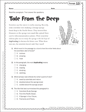 Tale From the Deep: Close Reading Passage - Printable Worksheet