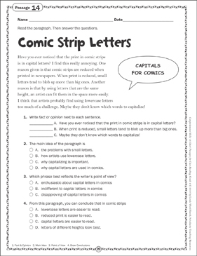 Comic Strip Letters: Close Reading Passage - Printable Worksheet
