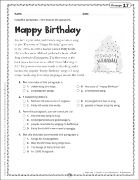 Happy Birthday: Close Reading Passage - Printable Worksheet
