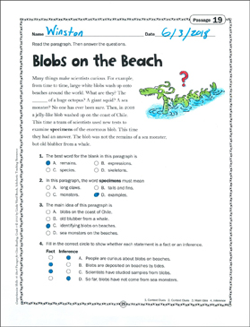Blobs on the Beach: Close Reading Passage - Printable Worksheet
