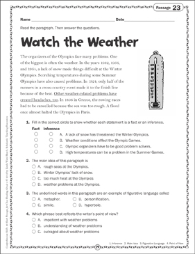 Watch the Weather: Close Reading Passage - Printable Worksheet