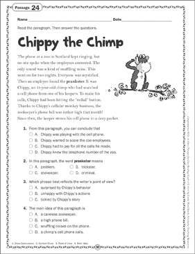 Chippy the Chimp: Close Reading Passage - Printable Worksheet