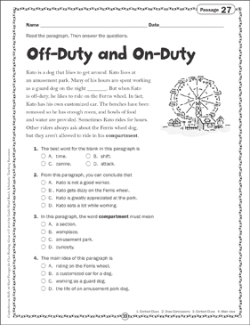 Off-Duty and On-Duty: Close Reading Passage - Printable Worksheet