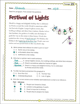 Festival of Lights: Close Reading Passage - Printable Worksheet