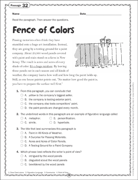 Fence of Colors: Close Reading Passage - Printable Worksheet