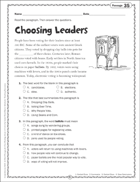 Choosing Leaders: Close Reading Passage - Printable Worksheet