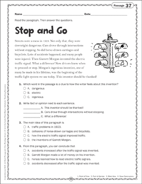 Stop and Go: Close Reading Passage - Printable Worksheet