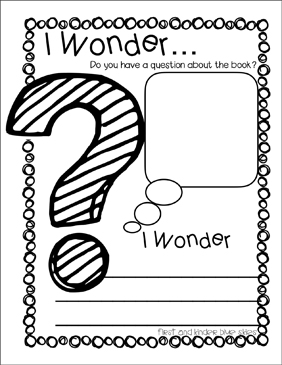 I Wonder... Reading Response - Printable Worksheet