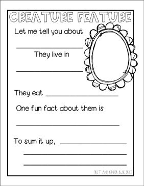 Creature Feature: Writing Prompt - Printable Worksheet