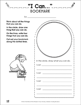 I Can... Draw and Write Bookmark - Printable Worksheet