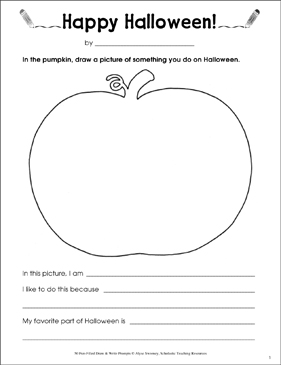 Happy Halloween! Draw and Write Prompts | Printable Skills