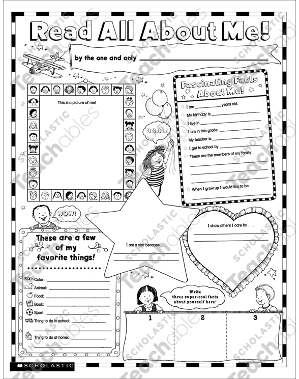 Read All About Me Fill In Poster K 2 Printable Graphic