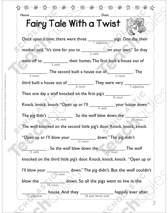 picture about Printable Fairy Tale referred to as Fairy Story With a Twist (Sections of Speech) Printable Types