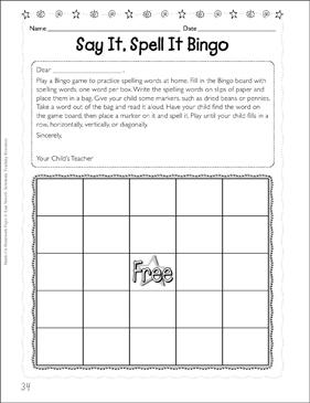 Say It Spell It Bingo Printable Skills Sheets And Bingo