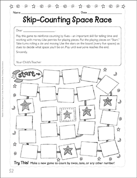 Skip-Counting Space Race (Counting by Fives) | Printable ...