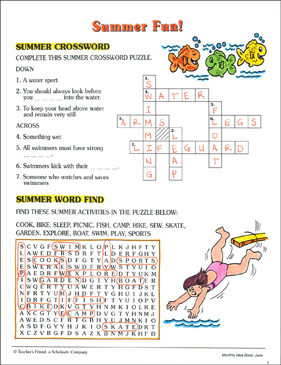 image relating to Fun Crossword Puzzles Printable referred to as Summertime Exciting: Crossword and Phrase Glimpse Printable Phrase