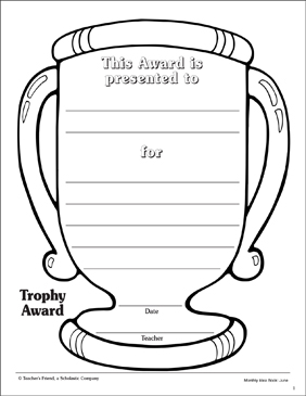 image about Printable Trophy identified as Trophy Award Printable Awards, Incentives and Techniques Sheets