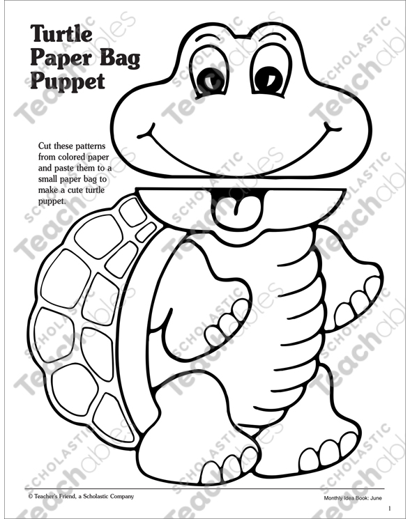 Turtle Paper Bag Puppet Pattern Printable Arts Crafts And Skills