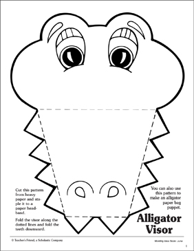 Alligator Visor Pattern Printable Arts Crafts And