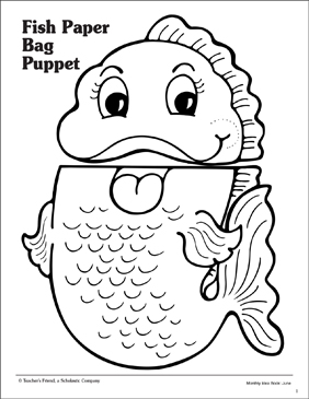 photograph about Printable Paper Bag Puppets referred to as Fish: Paper Bag Puppet Routine Printable Arts, Crafts and