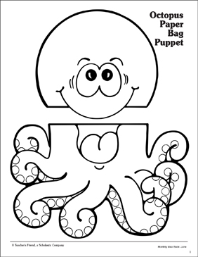 picture about Free Printable Paper Bag Puppet Templates named Octopus: Paper Bag Puppet Habit Printable Arts, Crafts