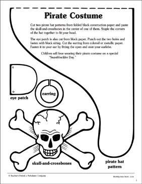 photograph regarding Printable Pirate Hats named Pirate Gown Printable Arts, Crafts and Competencies Sheets