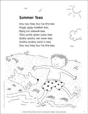 Summer Toes Poem And Activities Printable Lesson Plans