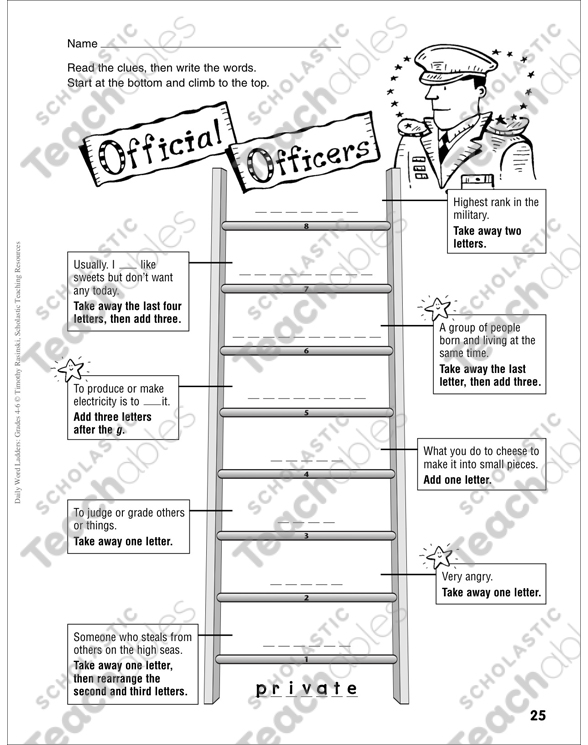 Official Officers Word Ladder Grades 4 6 Printable Skills Sheets