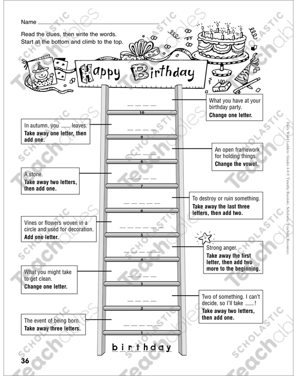 happy birthday word ladder grades 4 6 printable skills sheets