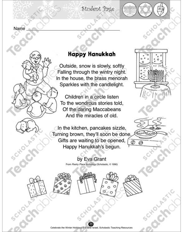 Happy Hanukkah A Poem Printable Texts And Skills Sheets