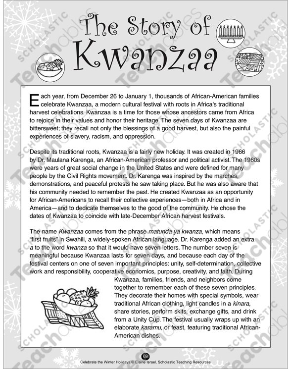 The Story Of Kwanzaa Printable Texts And Skills Sheets. See Inside. First Grade. Kwanzaa Worksheets For First Grade At Mspartners.co