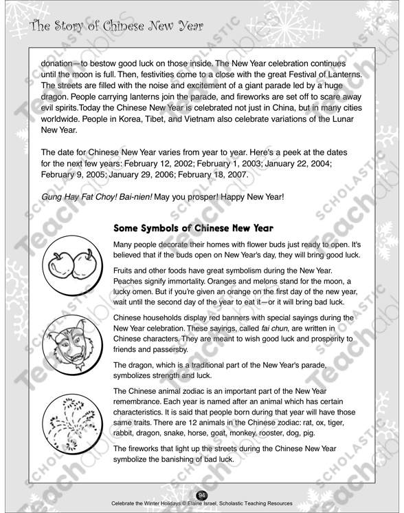 The Story of Chinese New Year | Printable Lesson Plans, Ideas and ...