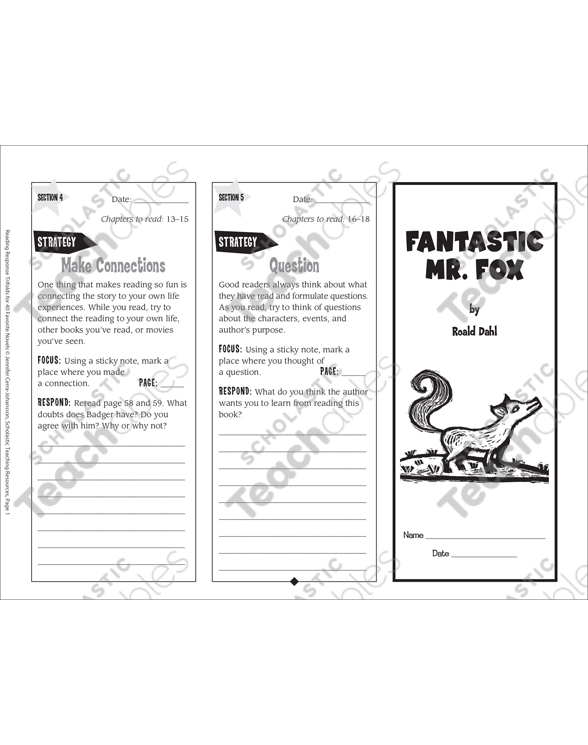 Fantastic Mr Fox Reading Response Trifold Printable Bookmarks And Toppers Skills Sheets