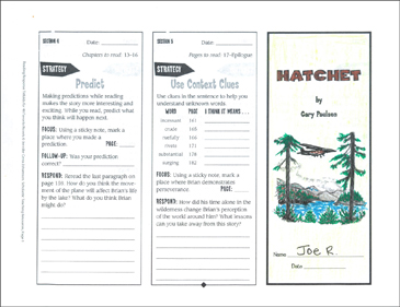 photograph relating to Hatchet Worksheets Printable titled Hatchet: Examining Respond to Trifold Printable Bookmarks